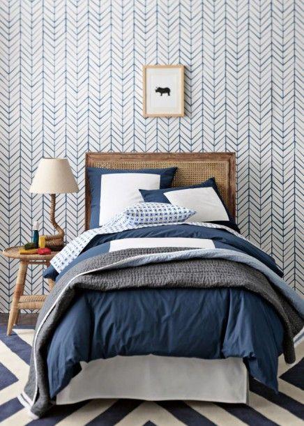 visgraat behang slaapkamer