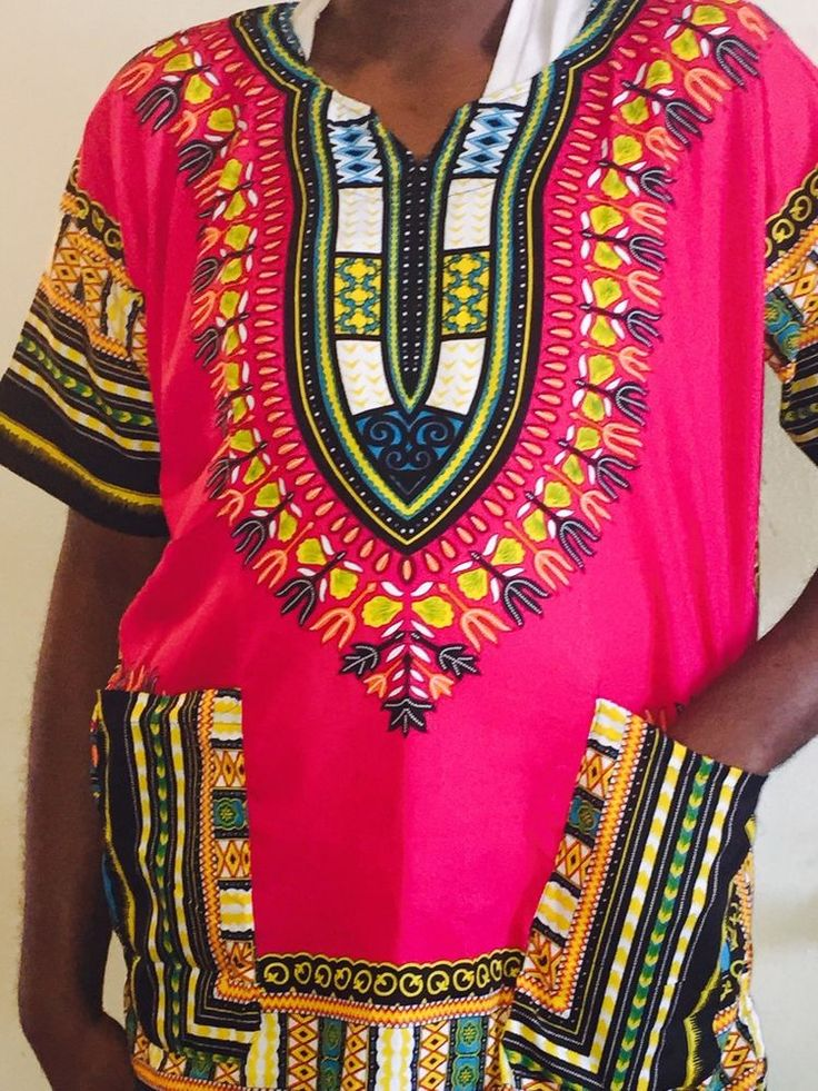 Details about AFRICAN Pink Shirt DASHIKI PRINT MEN women