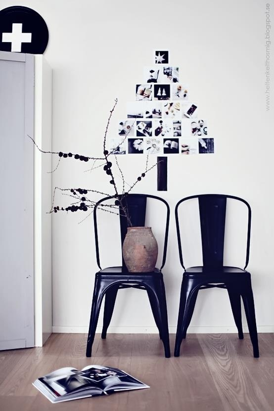 simple - black & white photos arranged in a tree design