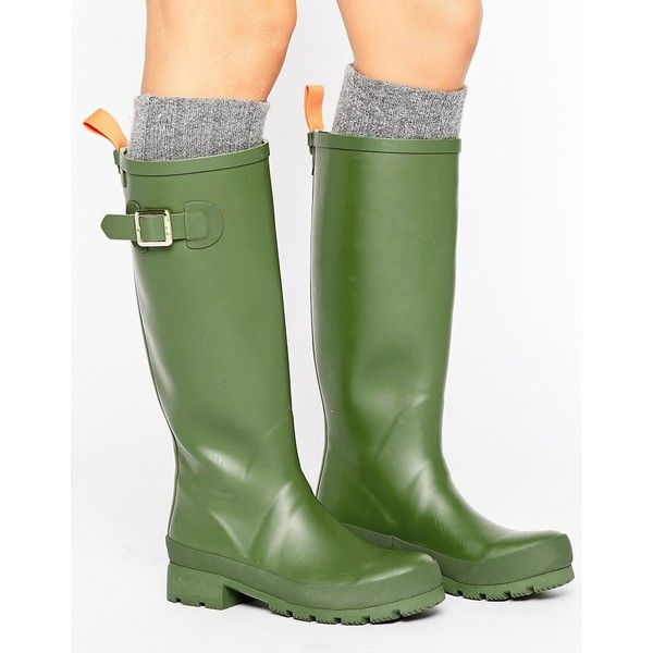 JUJU Heritage Wellington Buckle Boot ($42) ❤ liked on Polyvore featuring shoes, boots, ankle booties, green, round toe booties, pull on boots, low heel booties, round cap and green boots