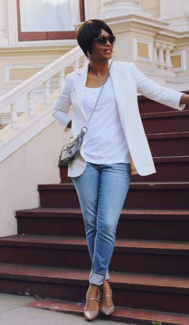 how-to-wear-denim-over-40 Clean easy styling. Straight or bootleg denim suit most shapes