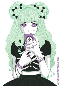 pastel Anime girl pastel goth green hair artists on tumblr chloe citrine wyldflowa