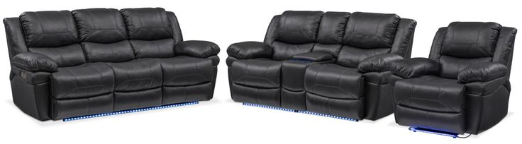 Monza Dual Power Reclining Sofa, Reclining Loveseat And Recliner Set - Black