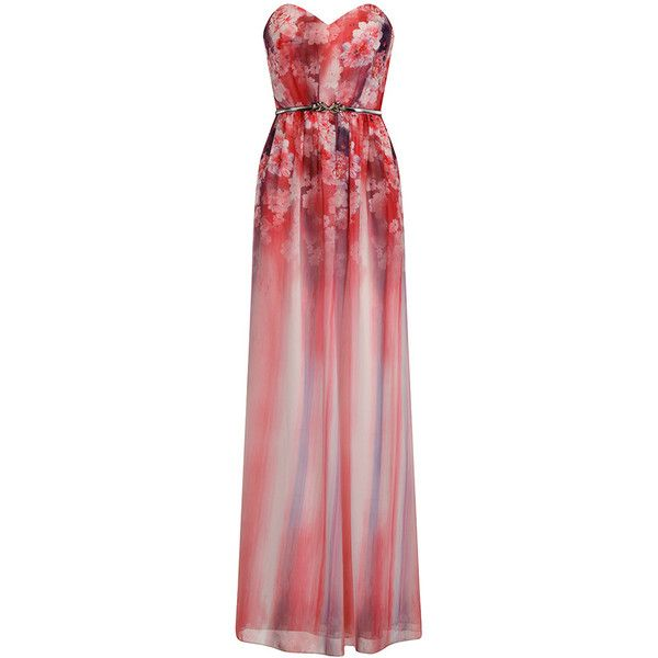 Little Mistress Pink Floral Bandeau Maxi Dress ($93) ❤ liked on Polyvore featuring dresses, gowns, floral dresses, sleeveless maxi dress, floral print maxi dress, bandeau bikini tops and red bandeau bikini top