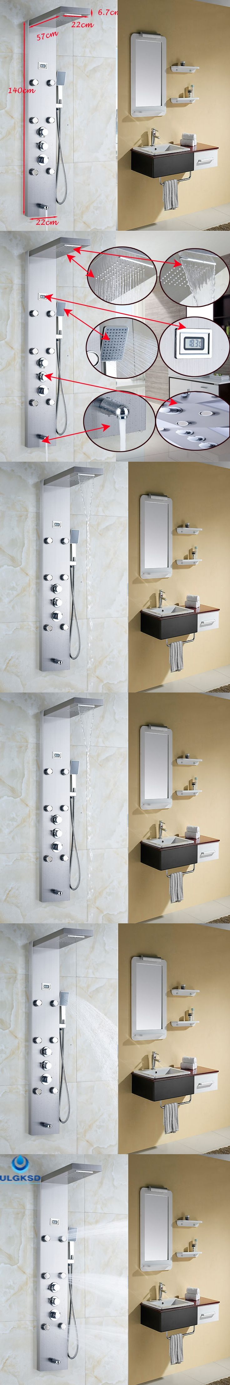 Ulgksd Thermostatic Shower Faucet Jets Bathroom Waterfall Rain Shower Column 6 pcs Massage Tub FaucetFilter Hand  Shower Panel