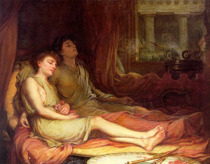 Hypnos, Greek god of sleep, and his brother, Thanatos, god of death, as painted by John William Waterhouse (1849-1917). Hypnos was the father of Morpheus