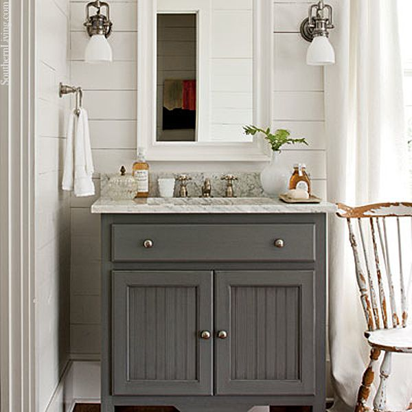 Gray Vanity Planked Walls
