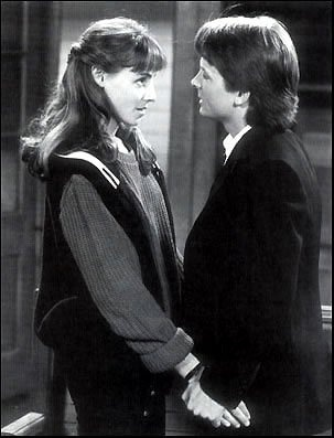 Michael J. Fox and wife Tracy Pollan before they were married, in an episode of Family Ties.