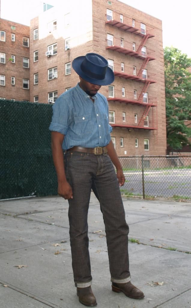 J Crew Panana Hat and chambray Kapital Century Denim ...
