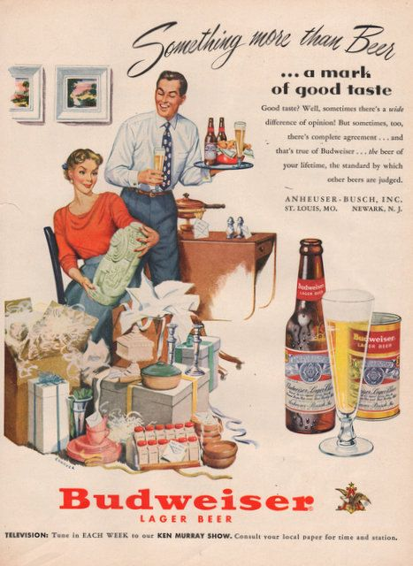1951 Budweiser Lager Beer print ad Wedding presents by Vividiom, $8.00