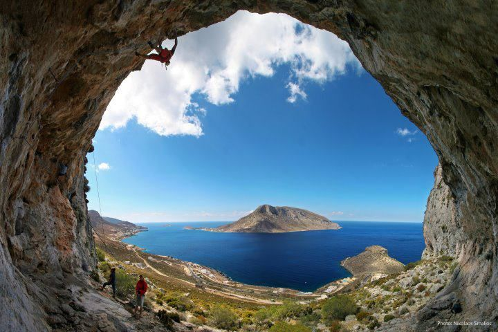 Kalimnos Island, Greece. Look at the man climbing the wall at the top left!!!