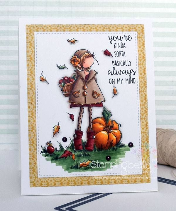 stamping bella rubber stamps: tiny townie FAYE loves fall, card by Michele Boyer