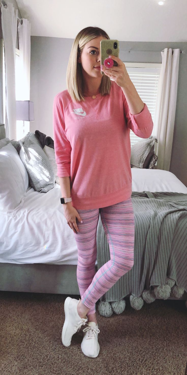 pink nike sweatshirt with pink stripe leggings and all white all bird sneakers athleisure street style inspo mom