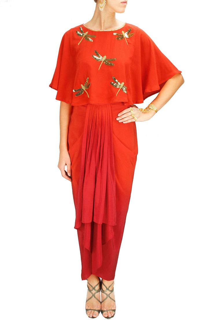 Dragonfly capelet with ombre dhoti skirt by AYINAT by Tania O'Connor. Shop now at www.perniaspopups... #traditional #designer #ayinat #trends #fashion #couture #shopnow #perniaspopupshop #happyshopping