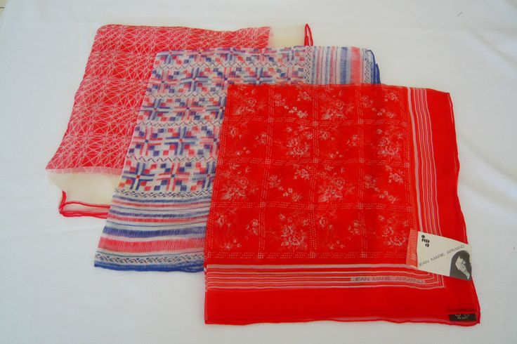 Jean Marie Armand vintage silk scarves. The red and white on the bottom is an Atelier Parnasse