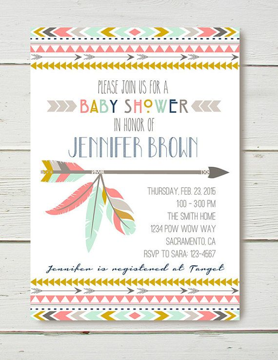 Tribal Aztec Pow Wow Indian Boho Bohemian Hipster Bow and Arrow Teepee Invitation by Belva June