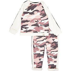 Set met roze sweater en joggingbroek met camouflageprint voor mini girls