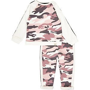 Set met roze sweater en joggingbroek met camouflageprint voor mini girls