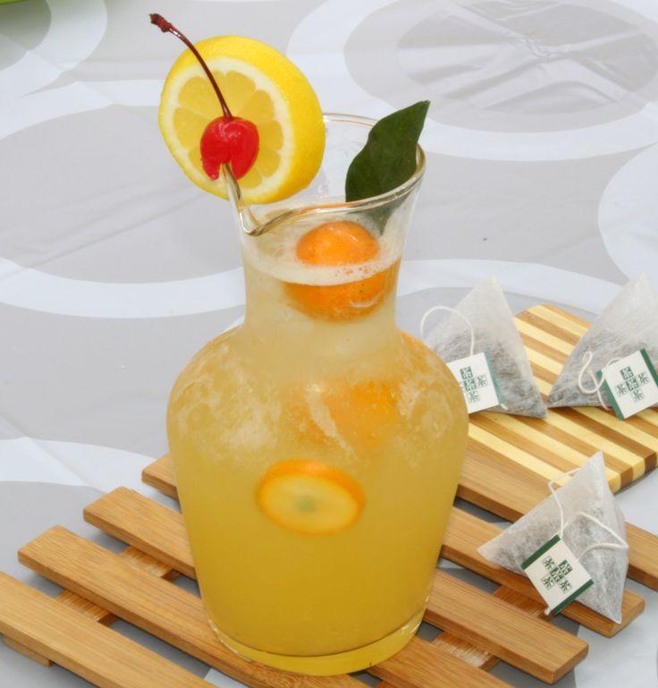 kumquat green tea drinks: bubble tea syrup + tea