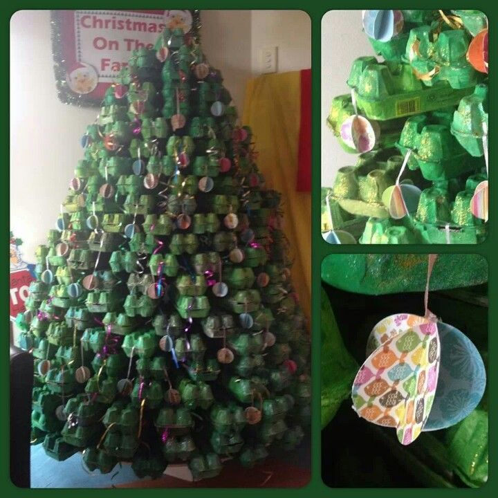 Egg carton christmas tree christmas pinterest trees for Christmas decorations using egg cartons