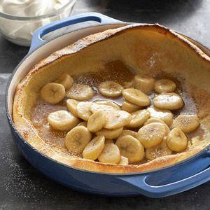 Puffed Oven Pancake with Brown Sugar-Banana Sauce