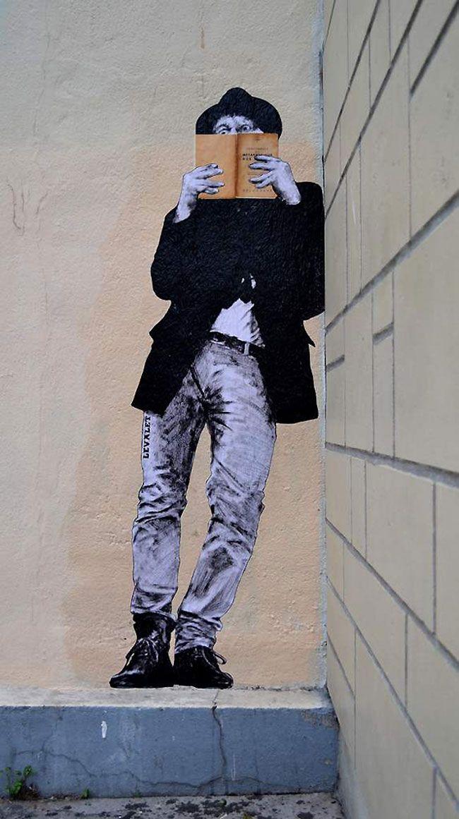 oeuvre de Levalet, professeur d'arts plastiques. Il choisit les murs de Paris…