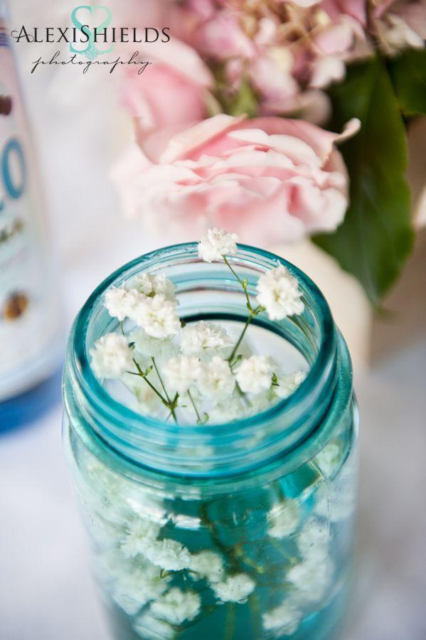 baby's breath in a blue mason jar - wedding centerpiece