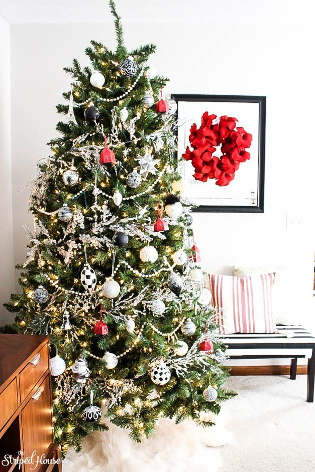 modern traditional eclectic christmas tree, decorated in black, white and red