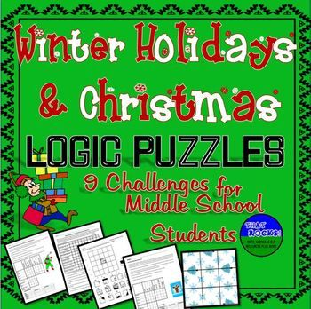 winter holiday christmas fun nine logic puzzles for middle school activities for teachers. Black Bedroom Furniture Sets. Home Design Ideas