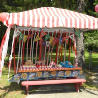 """Circus party was a success! We used a tailgating tent covered in red striped fabric. I made the pennant birthday sign out of construction paper and ribbon. I downloaded circus font for free to make all the letters. I made  the """"popcorn"""" cupcakes  with marshmallows for popcorn and a template for the wrappers. We served cotton candy, popcorn, hotdogs, circus peanuts and fresh squeezed lemonade. Each party guest went home with a box of Barnums animal crackers and a lollipop."""