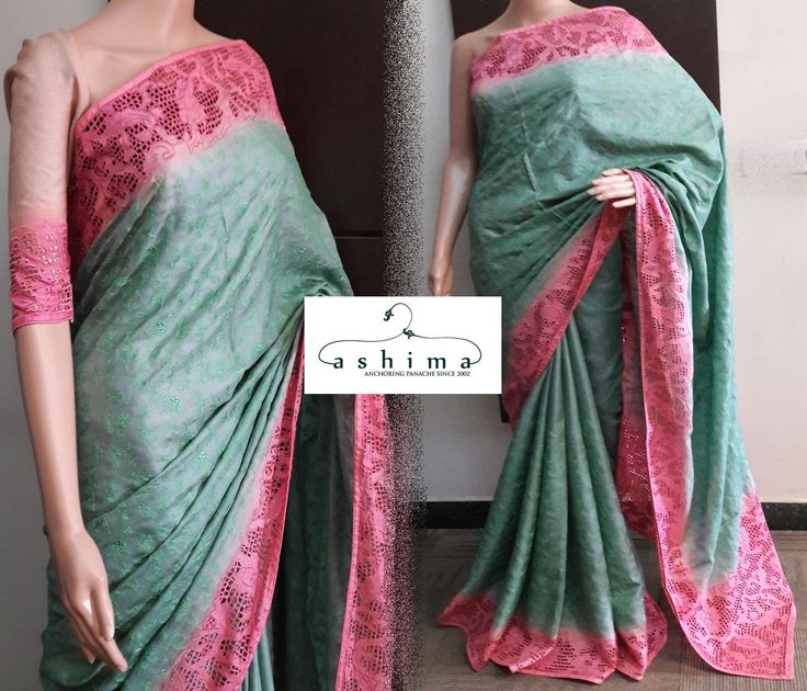 Code:2509178 - Price INR:13900/- , Tussar Silk Saree With Full Embroidered Body And Contrast Cutwork Border.