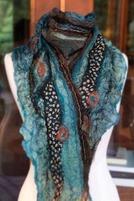 Felt Scarf, nuno felt, teal, brown, coral, handcrafted, silk, wool, one of a kind, homemade, accessory, women, Mint Chocolate