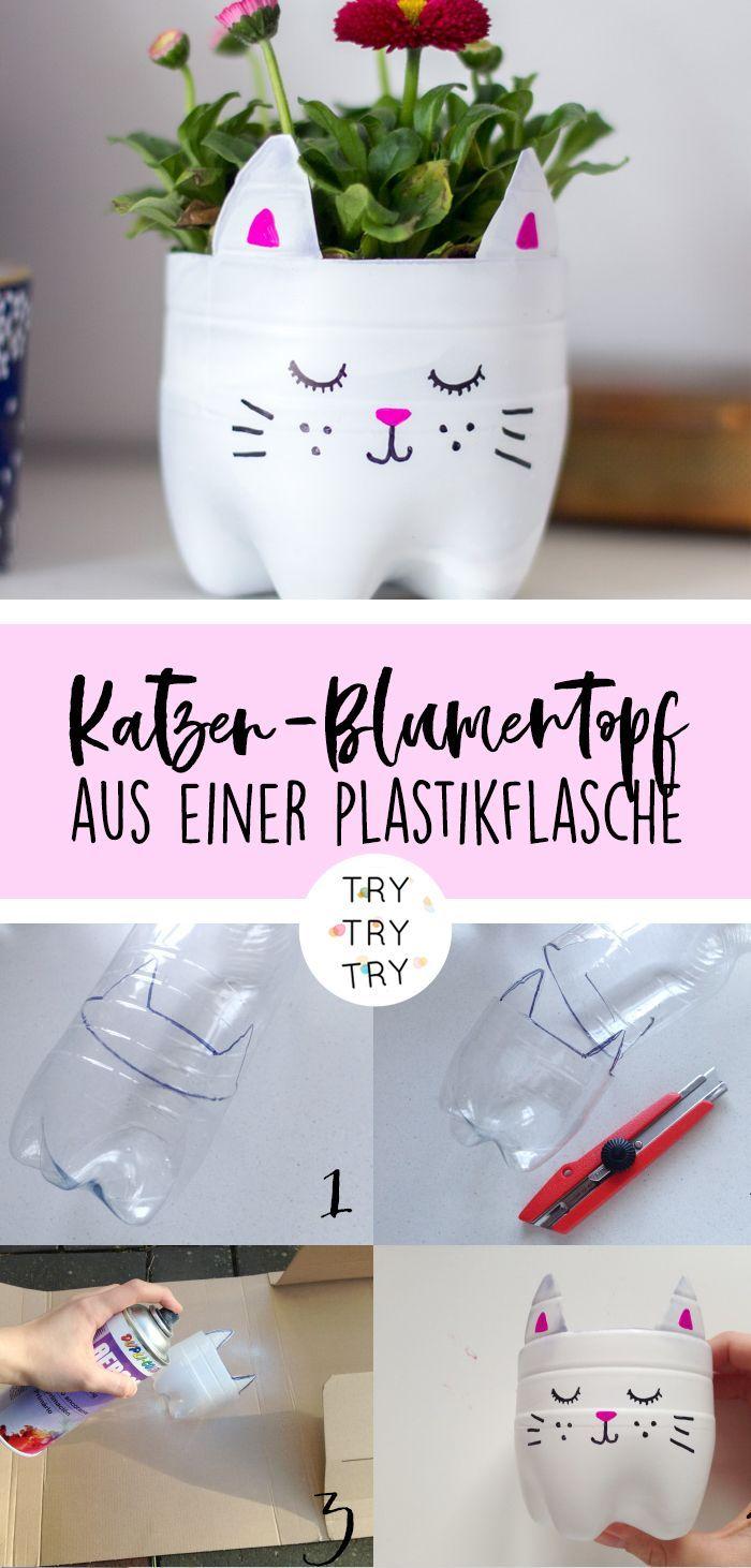Upcycling: Katzen-Blumentopf aus einer alten Plast…