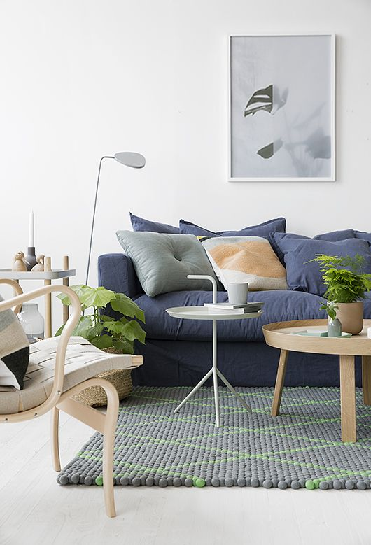 Peas Carpet - Hay / DLM Table - HAY / Around Table - Muuto / Dot Cushion - HAY / Kelim Cushion - Ferm Living / Block Table - Normann Copenhagen / Leaf Lamp - Muuto. Shop them all at www.misterdesign.com  Min styling f�r Decotique / Le Grand Air