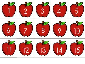 "FREE 1-100 apple cards! Can be used for ordering, sorting as even/odd, playing ""war"", or many more uses in a math station!"