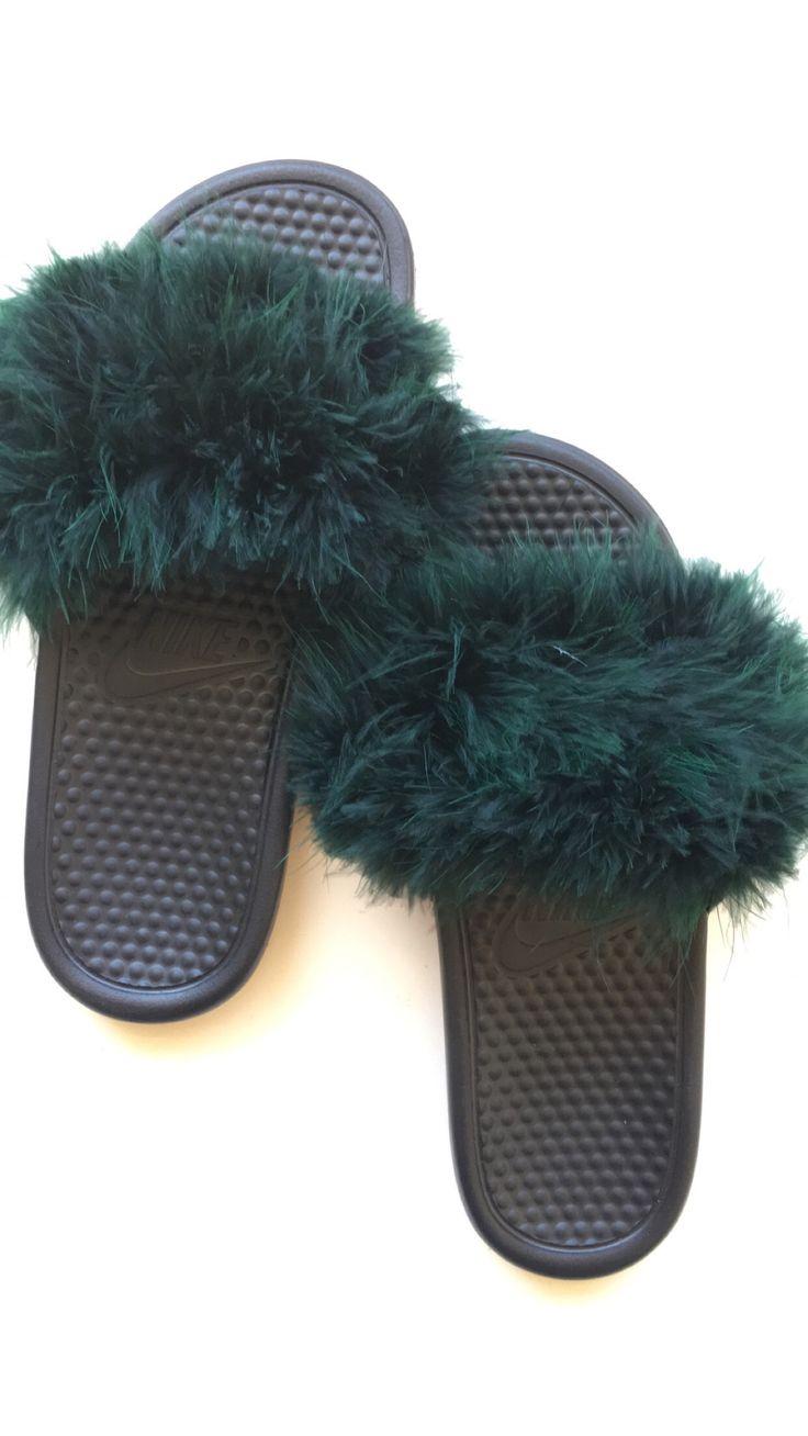 Forest Green Faux Fur Nike Slides