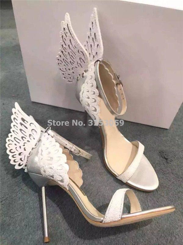 3307a28d3fc High end Women Pinnk Butterfly Sandals Metal Stiletto Heel Metallic ...
