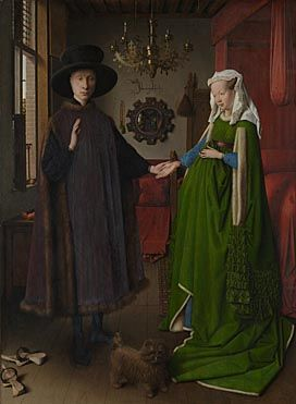 "This is a portrait of Giovanni Arnolfini and his wife at their home.  It has many titles, one of them being The Arnolfini Portrait.  This was done in oil paints by Jan van Eyck.  The mirror on the back wall that reflects the room (and the artist) is very unique.  The inscription on the wall translates into ""Jan van Eyck was here 1434""."
