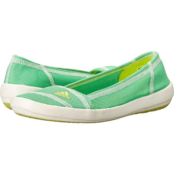 adidas Outdoor Boat Slip-On Sleek Women's Shoes, Green (510 ZAR) ❤ liked on Polyvore featuring shoes, flats, green, ballet pumps, ballet shoes, adidas shoes, ballerina pumps and adidas footwear