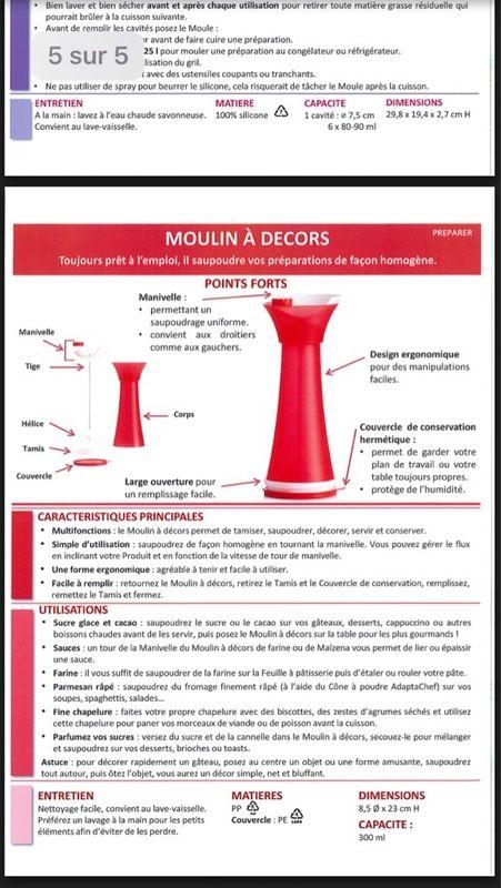 Fiche Tupperware: Moulin a decors