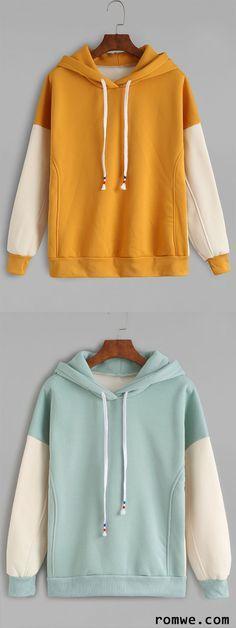 Mustard Contrast Sleeve Drawstring Hooded Sweatshirt