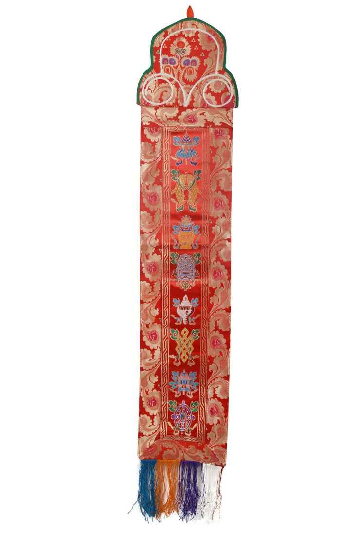 Tibetan Silk Brocade Wall Hanging With 8 Auspicious Lucky Symbols(FH-WH-1036RED)