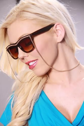 Tortoise Gold Chain Trim Necklace Uv Protected Sunglasses