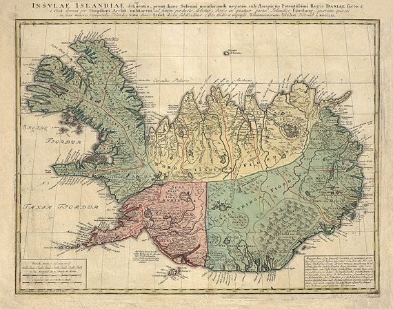 Map of Iceland, 1752.  Restoration Hardware Home Deco Style Old Wall Vintage Reprint.