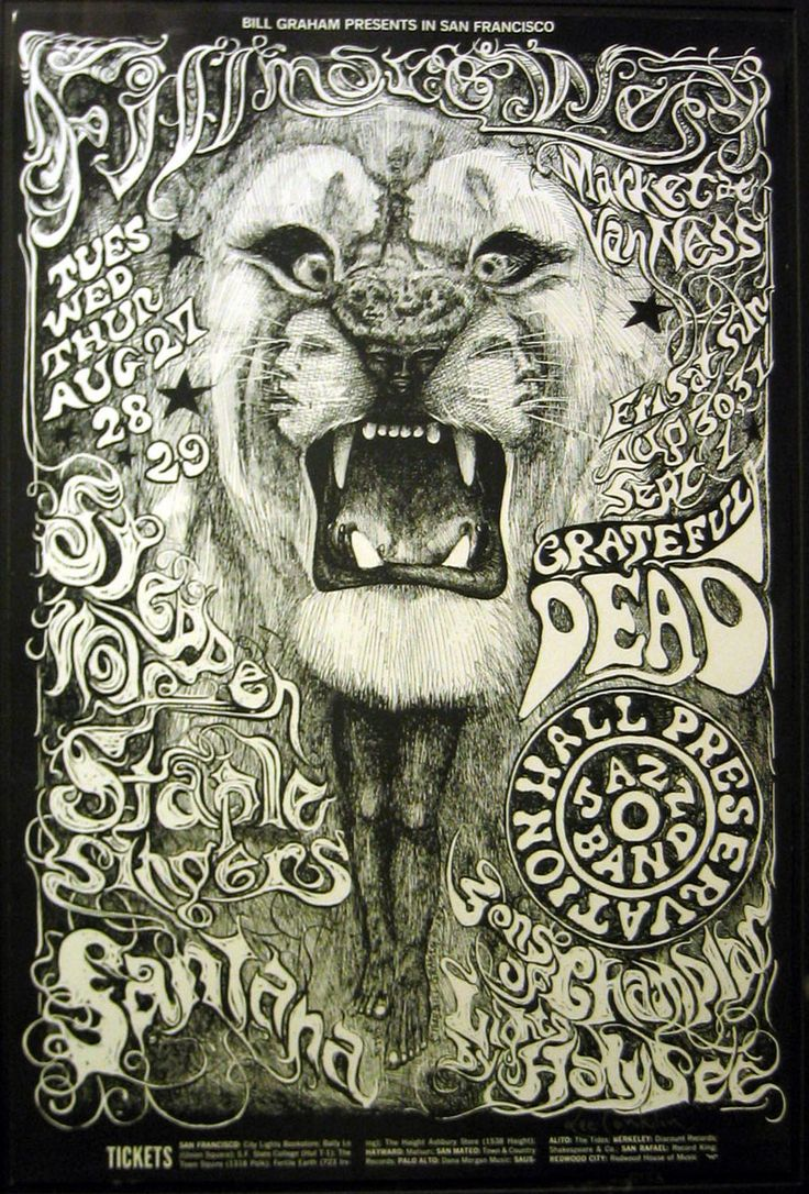 Steppenwolf, Staple Singers, Grateful Dead and Santana concert poster by Lee Conklin