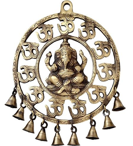 Two Moustaches Om Ganesha Wall Hanging With Bells