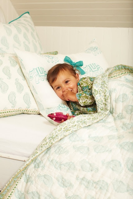 Sweet girl...Taj duvet and goa quilt