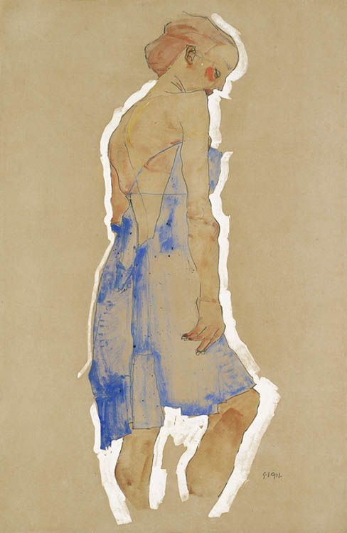 Standing Girl in Blue Dress. Egon Schiele was an Austrian painter. A protégé of Gustav Klimt, Schiele was a major figurative painter of the early 20th century. His work is noted for its intensity, and the many self-portraits the artist produced. The twisted body shapes and the expressive line that characterize Schiele's paintings and drawings mark the artist as an early exponent of Expressionism.