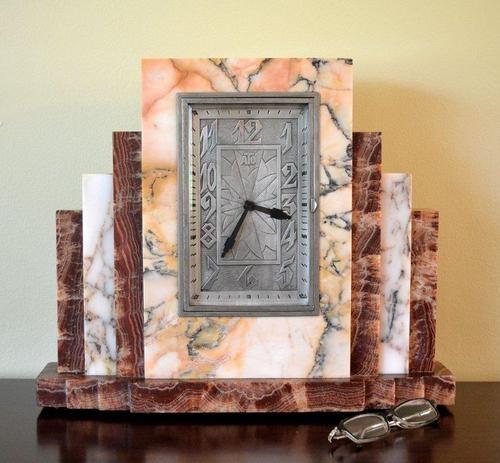 """KYSCRAPER Design French Art Deco Marble """"ATO"""" Clock by Leon Hatot Huge, 1930'S."""