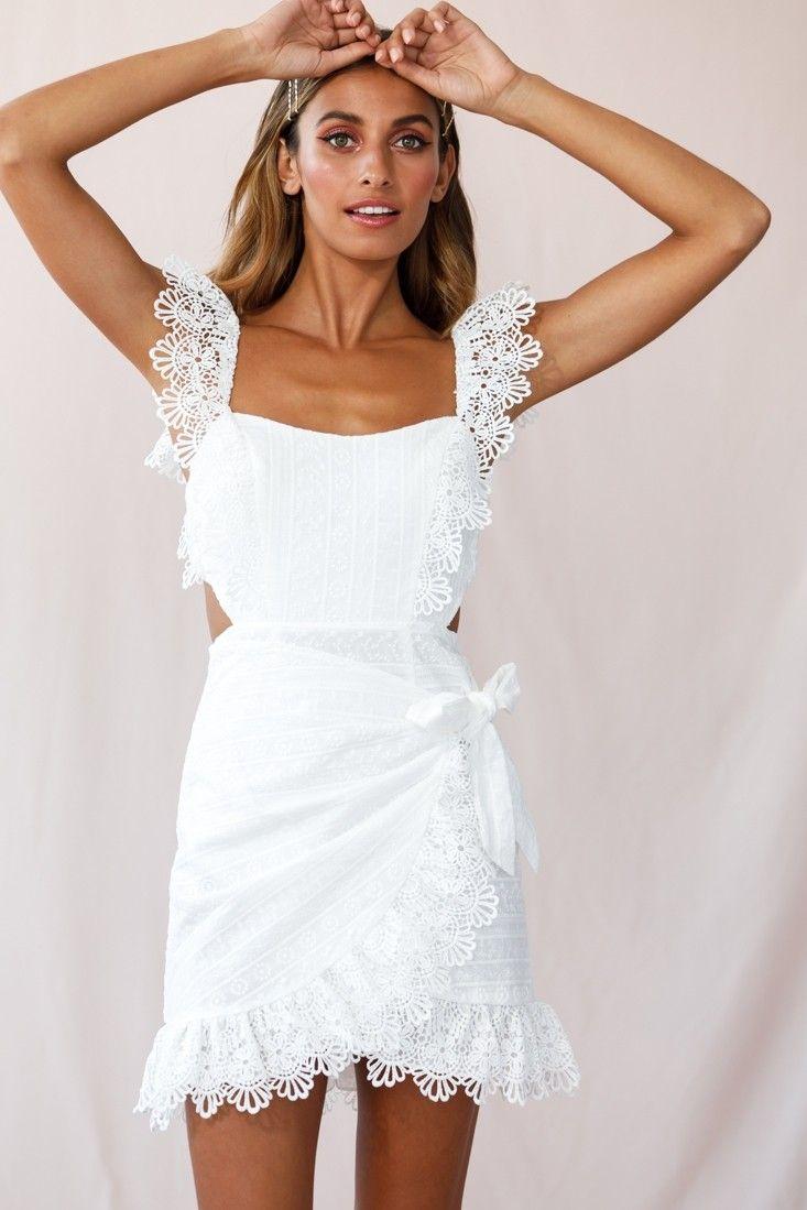 Sonnet Lace Trim Wrap Front Dress White Wrap Front Dress Dresses White Dress [ 1099 x 733 Pixel ]